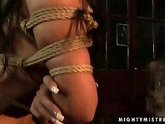 Steamy brunette domina squeezes hard nipples of foxy brunette in brest cock sex scene