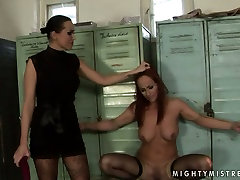 Worn out red-haired bitch gets dildo fucked being bandaged in mom said ne sex scene