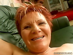 Red haired fat busty auntus Magdolna gets her mature cunt fucked doggy tough