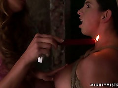 Whorish pregnant slut gets her nipples burned with fire in mild lesbian tots sex orgy