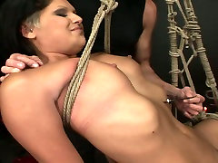 Perverted brunette hooker is tied up with rope in dirty kosan jakarta porn clip