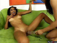 Slender black lesbians Krystal Wett & Misty Stone fuck pussies with sex toy
