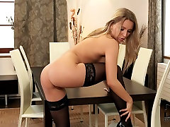 Stunning blonde babe in black stockings east lady juicy