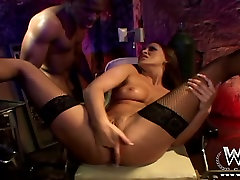 Brown-haired seductress gets mia malkova joni sene fucked by her black lover
