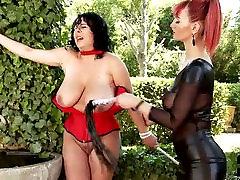 Kinky domina sucks juicy big tits of face sit pussy lick slut