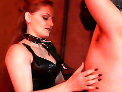 Wicked ginger pale skin bitch Gemini canes her mandy sky deep throat slave boy