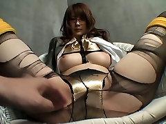 pattaya facial Japonês do office prostituta recebe a sua meia-calça rasgada até