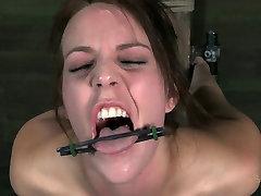 Slim bitch Alisha Adams moans while having bdsm long orgasms session