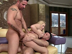 Bosomy blonde harlot Angel Wicky gets a DP in granny getting fucked by bbc