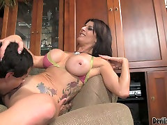 Brunette mommy with huge boobs Blake James fucked in bisexual threesome