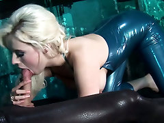 Delightful blonde chick in latex blows hard dick in 69 position
