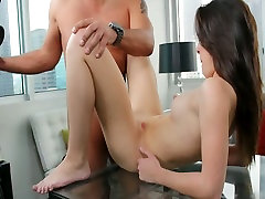 Small titted brunette beauty Natalie pleases a hot dude in nude girl waxing casting