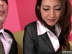 Shy Asian girlie let her freaky boss tickle her hairy kitty