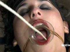 Voluptuosa morena puta recebe seu bichano picou com uma vara de madeira