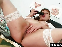 Big tits aged lady wears net stuff bra underware uniform and gets naughty