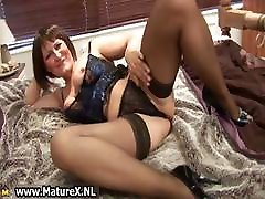 Mature mom in sexy black stockings part2