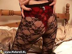 Blonde very hairy big tits lady in pantyhose part3