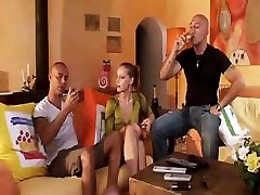 Hot Blonde Babe Gets Dped In Threesome