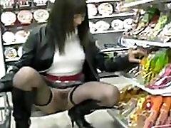 Upskirt No Panties Shopping For Sushi