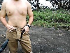 Asian bear cum public and jerk off twice- Taiwan