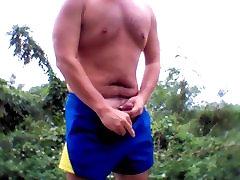 Asian horny man jerk & cum big load in public wild Taiwan
