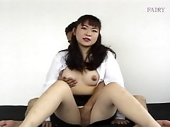 Docile Asian girl in pantyhose