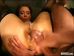 Happy girl gets anal group sex