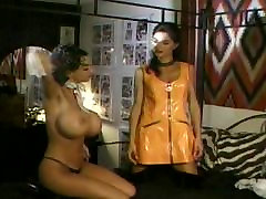 Big tits spanking babe in licking latex boots