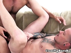 Inked masquerade lesbians jerks off with a cock in his mouth