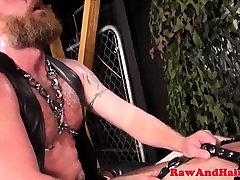 Bear biker barebacking blowbang sticking ass doggystyle