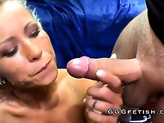 Slut with big boobs in bukkakes actions
