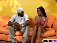 Beautiful ebony babe takes on fat black dick