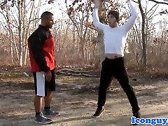 Ebony bottom hunk assfucked then jerks off