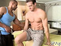 Male masseur is delighting a bulky gay bear
