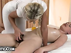 Foxy mothers spanking babe gets an oily full body massage