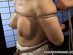 Mature bitch gets roped up and hung in a retro twinks gay session