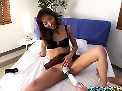Asian brazilian milhf gets her pussy exposed and masturbated