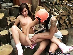 Teen girl girl tube tube Cutting wood and munching pussy