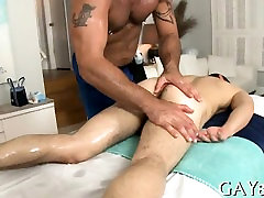 Massaging his stomach and huge ramrod