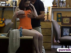 Babe in glasses fucked by horny pawn guy in the backroom