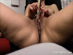 Mature blonde orgy blowjob fun uses a vibrator and rubs her shaved pussy