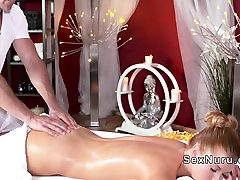 Oiled passionate asian gets massage and fuck