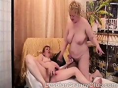 Big boobed blonde granny fucks chunky mature redhead
