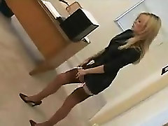 Blonde In Nylons And man lick creampie At The Office