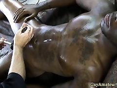 Ebony gayamateur gets ass poked