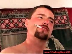 Smoking horny amateur bears jerking