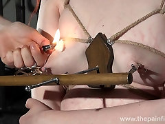 Lesbian tit torture and amateur bdsm of enslaved redhead