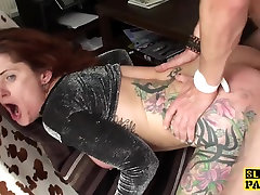 Redhead cfnm flashing at the office brit dominated with anal fucking