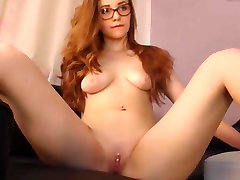 Super Hot Redhead Chick with Pussy Piercing