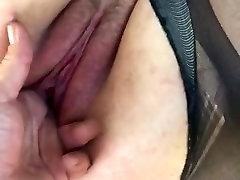 BBW slut pets-hitting those spots in tattered hose.